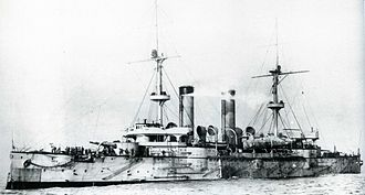 Japanese cruiser Asama - Asama at anchor on completion
