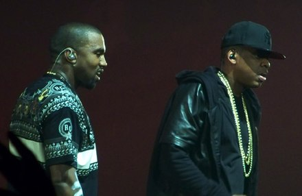 West received early acclaim for his production work on Jay-Z's The Blueprint; the two are pictured here in 2011. Jay-Z Kanye Watch the Throne Staples Center 9 (cropped).jpg