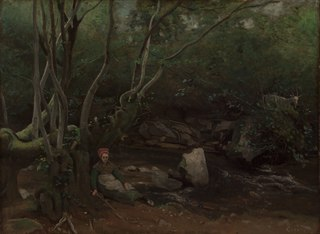 Lormes:  Goat-Girl Sitting Beside a Stream in a Forest