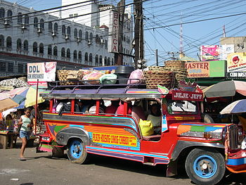 A jeepney waiting to leave at Carbon Market in...