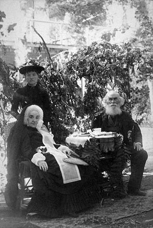 John LeConte - John LeConte (right), his wife (seated, left), and nurse (standing)