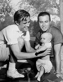 John Lupton and daughter Rolllin with Michael Ansara 1957.JPG