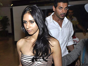 John Abraham (actor) - Abraham with his wife Priya Runchal in 2012