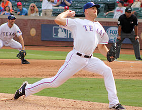 Jon Edwards Rangers pitcher in Arlington Sept 2014.jpg