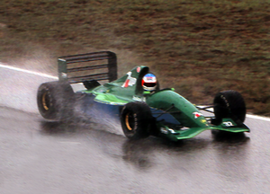 Michael Schumacher testing the Jordan 191, pai...