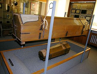 Funeral Museum Vienna - The re-usable coffin instigated in 1784 by Emperor Josef II