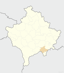 Location of the municipality of Kaçanik within Kosovo