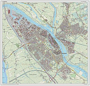 Kampen, Overijssel - Topographic map of the city of Kampen, March 2014