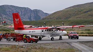 Air Greenland - Air Greenland DHC-6 Twin Otter by the time used for ambulance and charter flights, including the research base at Summit Camp, the DHC-6 Twin Otter at Kangerlussuaq Airport (2009)