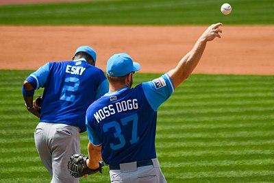 403e6db31e6 Alcides Escobar (left) and Brandon Moss of the Kansas City Royals sport  their nicknames