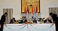 Kapil Sibal and the Minister of Education of Tajikistan, Mr. Saidov Nuriddin Signing the MoU on Exchange Programme between Indian and Tajikistan on Cooperation in the field of Education, in the presence of the Prime Minister.jpg