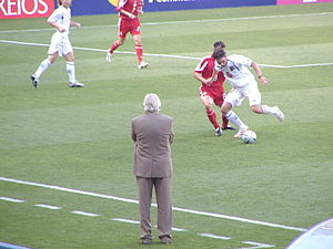 Karel Brückner - Bruckner (grey suit) coaching Czech Republic in a UEFA Euro 2004 match