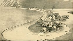 "Karluk sandspit in the late 1800s showing cannery and village; the source termed the Karluk River the ""River of Life"" due to the dense salmon run"