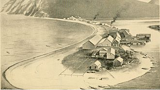 "Karluk, Alaska - Karluk sandspit in the late 1800s showing cannery and village; the source termed the Karluk River the ""River of Life"" due to the dense salmon run"