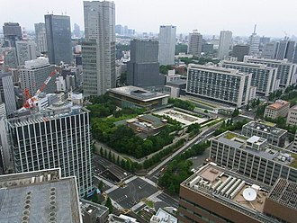 Prime Minister's Official Residence (Japan) - Official residence viewed from Kasumigaseki Building (June 20, 2010)