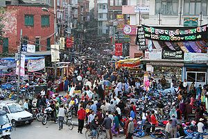 A crowded street (Jamal) in Kathmandu.