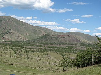 Khangai Mountains - Khorgo extinct volcano in the northern Khangai Mountains