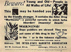 Legal history of cannabis in the United States - Federal Bureau of Narcotics public service announcement used in the late 1930s and 1940s