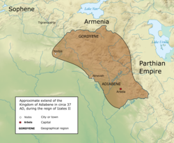 The Kingdom of Adiabene in c. 37 AD at its greatest extent, during the reign of Izates II