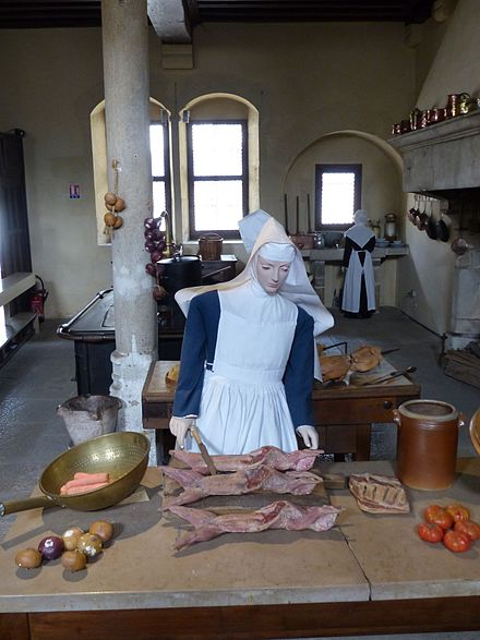 Rabbit being prepared in the kitchen Simulation of daily life, mid-15th century Hospices de Beaune, France Kitchen - Hotel Dieu, Beaune.jpg