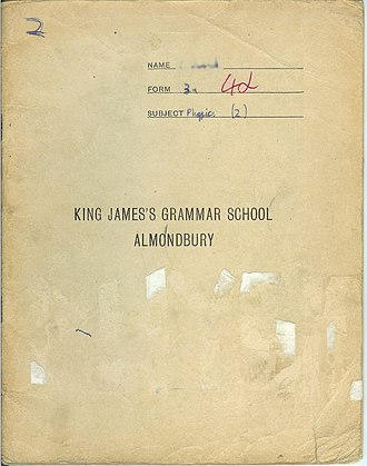 King James's School, Almondbury - King James's Grammar School custom colour-coded exercise book c.1972. Chemistry was dark blue, physics (shown here) cream, and so on.