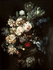 Still life with flowers and fruit.
