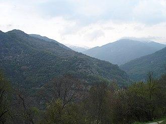 Upper Reka - View from Volkovija of the slopes of Korab mountain and Radika river canyon
