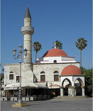 2017 Aegean Sea earthquake - The Defterdar Mosque on Kos (pictured here in 2011) before...