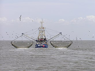 Wild fisheries - Crab boat from the North Frisian Islands working in the North Sea