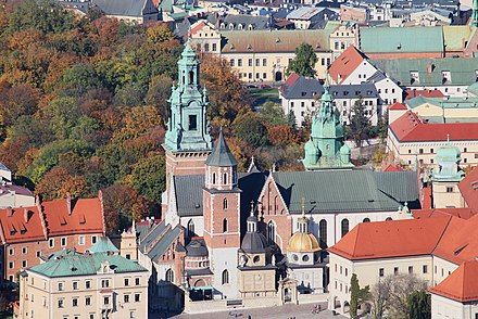 Wawel Cathedral, home to royal coronations and resting place of many national heroes; considered to be Poland's national sanctuary Krakow - Wawel Cathedral from balloon - 2.jpg