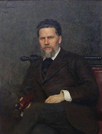 Ivan Kramskoi - Portrait of Kramskoi  by Ilya Repin, 1882.