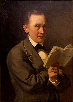 Estonian national awakening - Friedrich Reinhold Kreutzwald reads the manuscript of Kalevipoeg. Painting by Johann Köler