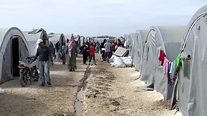 Siege of Kobanî - Kurdish refugees from Kobanî in a refugee camp, on the Turkish side of the Syria–Turkey border