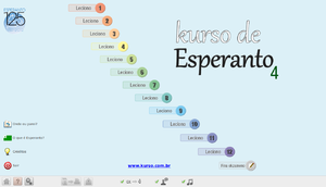Kurso de Esperanto's main menu under GNU/Linux.