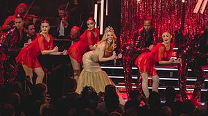 "Kylie (album) - Mingoue performing ""The Loco-Motion"" on her Kylie Christmas concert series (2015)."