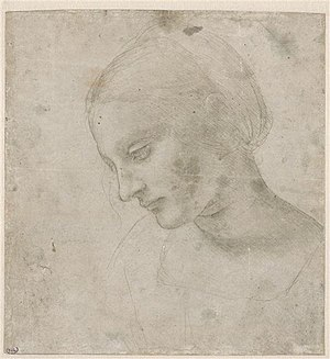Madonna Litta - Leonardo da Vinci, Head of a young woman in near profile. Metalpoint heightened with white lead on grey prepared paper, 17.9 x 16.8 cm. Louvre, Cabinet des dessins, Codex Vallardi 2376 recto)