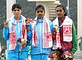 L. Surya (INDIA) won Gold Medal, Swaty Gadhave (INDIA) won Silver Medal and UKN Rathnayaka (SRI LANKA) won Bronze Medal in 5000m Women's Run, at the 12th South Asian Games-2016, in Guwahati on February 10, 2016.jpg