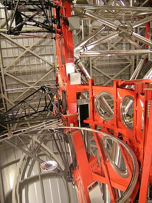 Primary mirror - The largest non-segmented mirror in an optical telescope in 2009, one of the Large Binocular Telescope's two mirrors