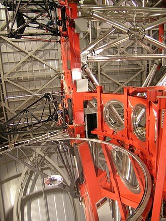 Large Binocular Telescope - Interior looking down a one of the primary mirrors
