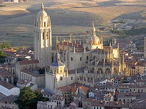 Segovia - The Segovia Cathedral as seen from the air.