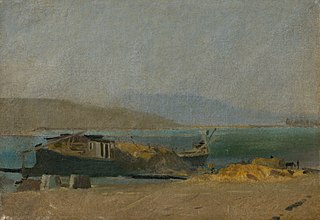 Cargo Ship on the Danube Riverbank
