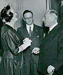 Lady Churchill, Hans Krebs, Frits Zernike 1953.jpg