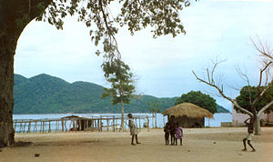 Children playing on the edge of Lake Malawi. U...