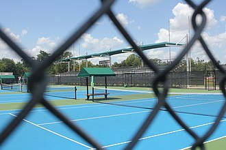 Lamar Cardinals and Lady Cardinals tennis - Image: Lamar Tennis Courts looking through the fence at the grandstands