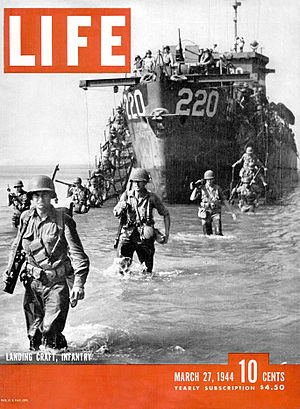 Landing craft - USS LCI 220 in Italy (March 1944)