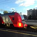 Lastochka train at St Petersburg–Finlyandsky railway station.jpg