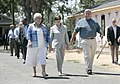 Laura Bush talks with residents in Biloxi, August 2006.jpg