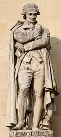 Lavoisier, by Jacques-Léonard Maillet, ca 1853, among culture heroes in the Louvre's Cour Napoléon