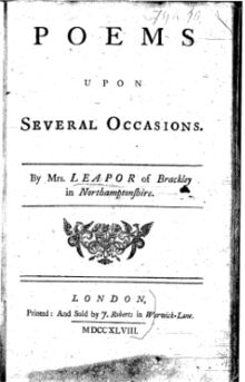 Title page, Poems Upon Several Occasions (1748) by Mary Leapor