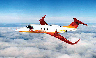 Wingtip device - A Learjet 28/29, the first commercial aircraft with winglets